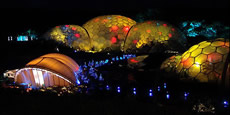 eden project lit up at night