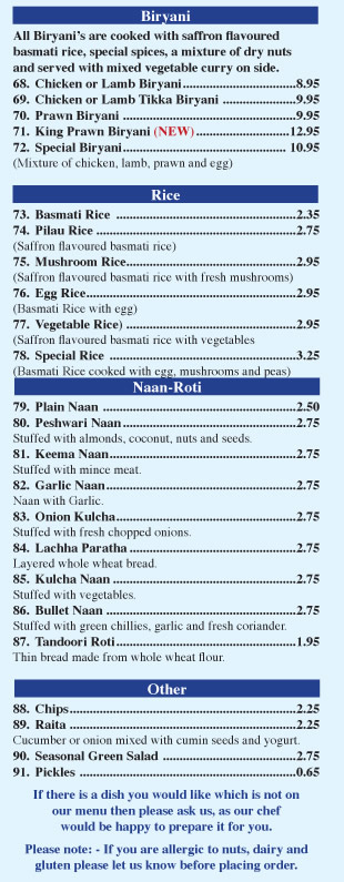 indian food menu restaurant